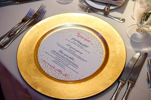 Charger by LM Event Productions; menu (and invitations) by Plurabelle Calligraphy and Kate Allen