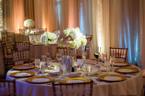 Flowers by Flower Duet; lighting and draping by LM Event Productions