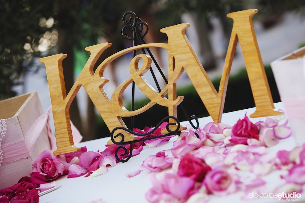 Another personalized element, provided by the father of the bride: A wood initial monogram.