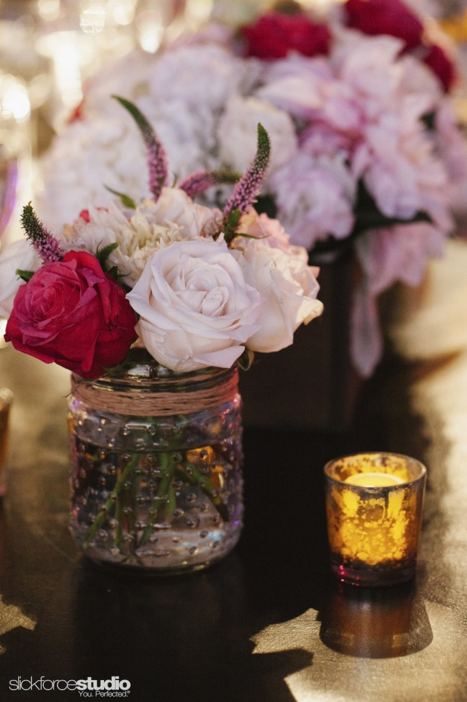 Photo by Slickforce/Nick Saglimbeni, florals and decor (like these mercury votives) by Lotus and LIly.