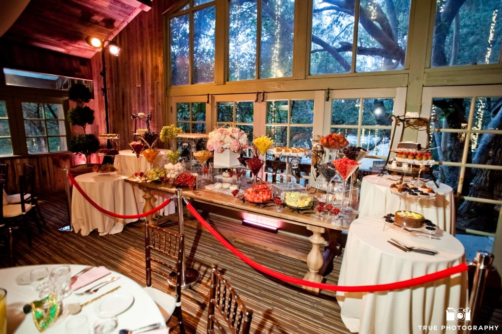 For this well appointed Russian wedding, bringing in a dessert and fruit table was vital to maintaining family traditions.  We referred a highly reliable outside caterer that works well with established venues (such as Calamigos Malibu, pictured here). Hasmik Party Service created this display.