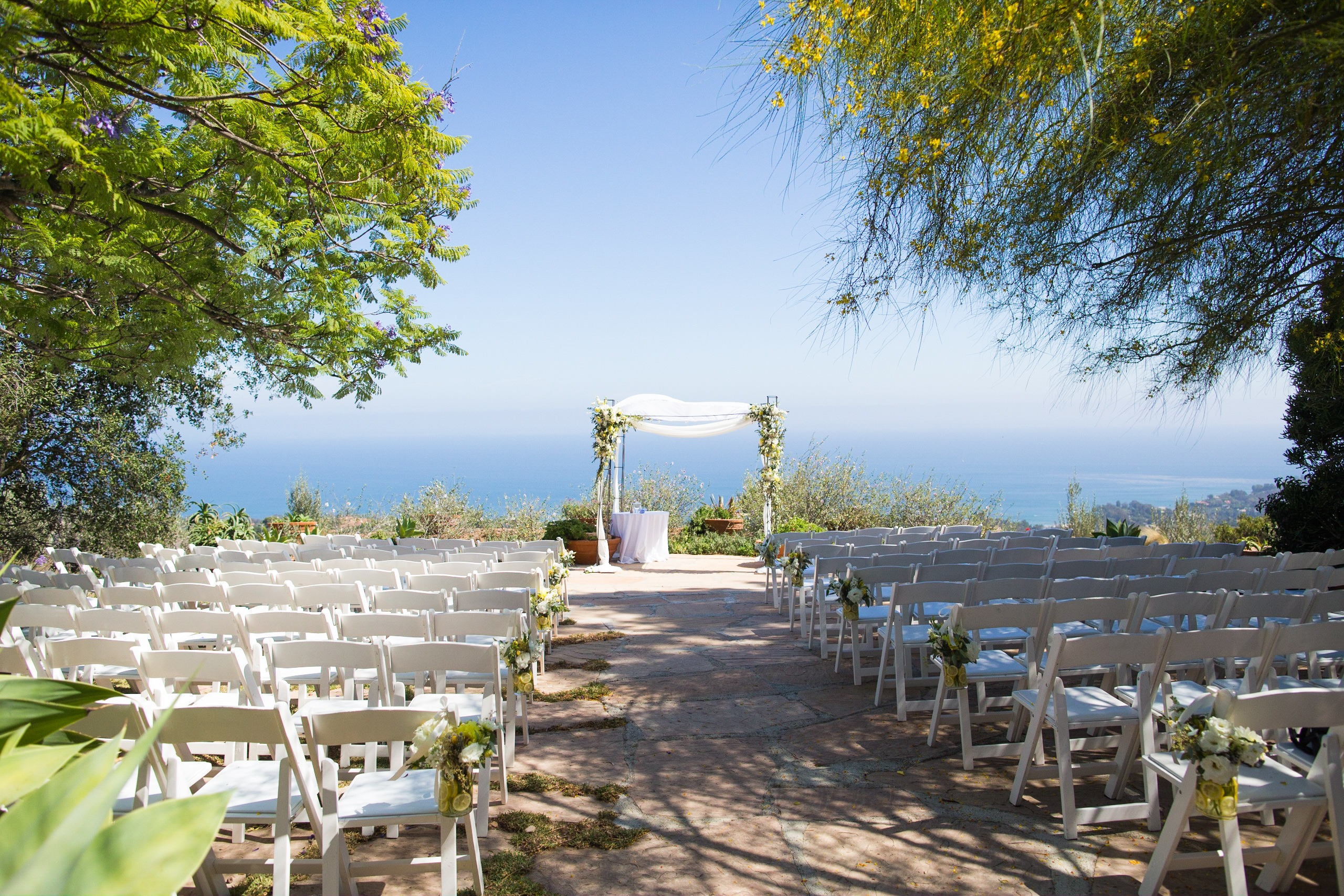 wedding ceremony rancho del cielo chuppah view malibu wedding
