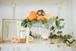 Delicate styling showcases Pixi skin care.