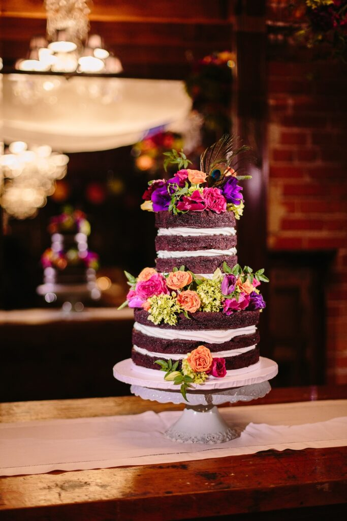 A little chocolate goes a long way!  Cake - Fantasy Frostings; Florals - Peony and Plum; and photography by Brian Leahy at Carondelet House.