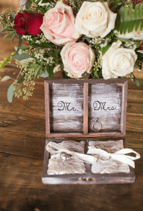 Rustic ring box lace mr mrs wedding roses