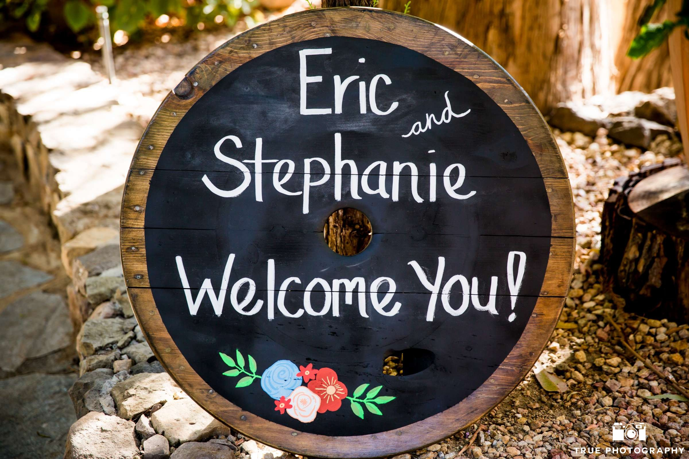 Round Wood Wedding Signage