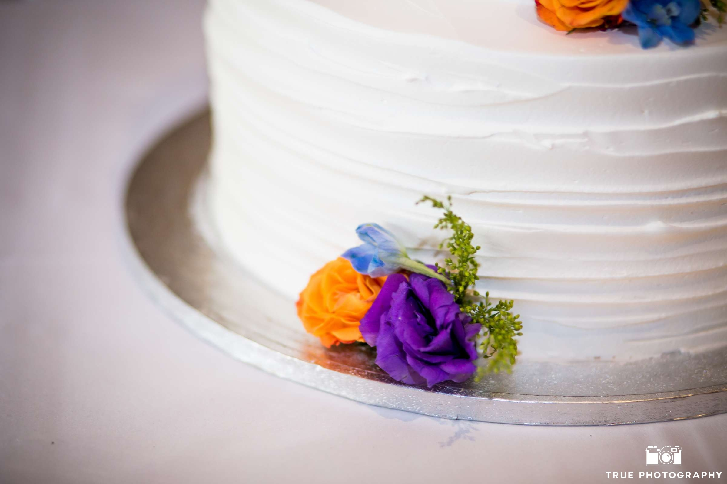 Purple Orange Flowers White Wedding cake