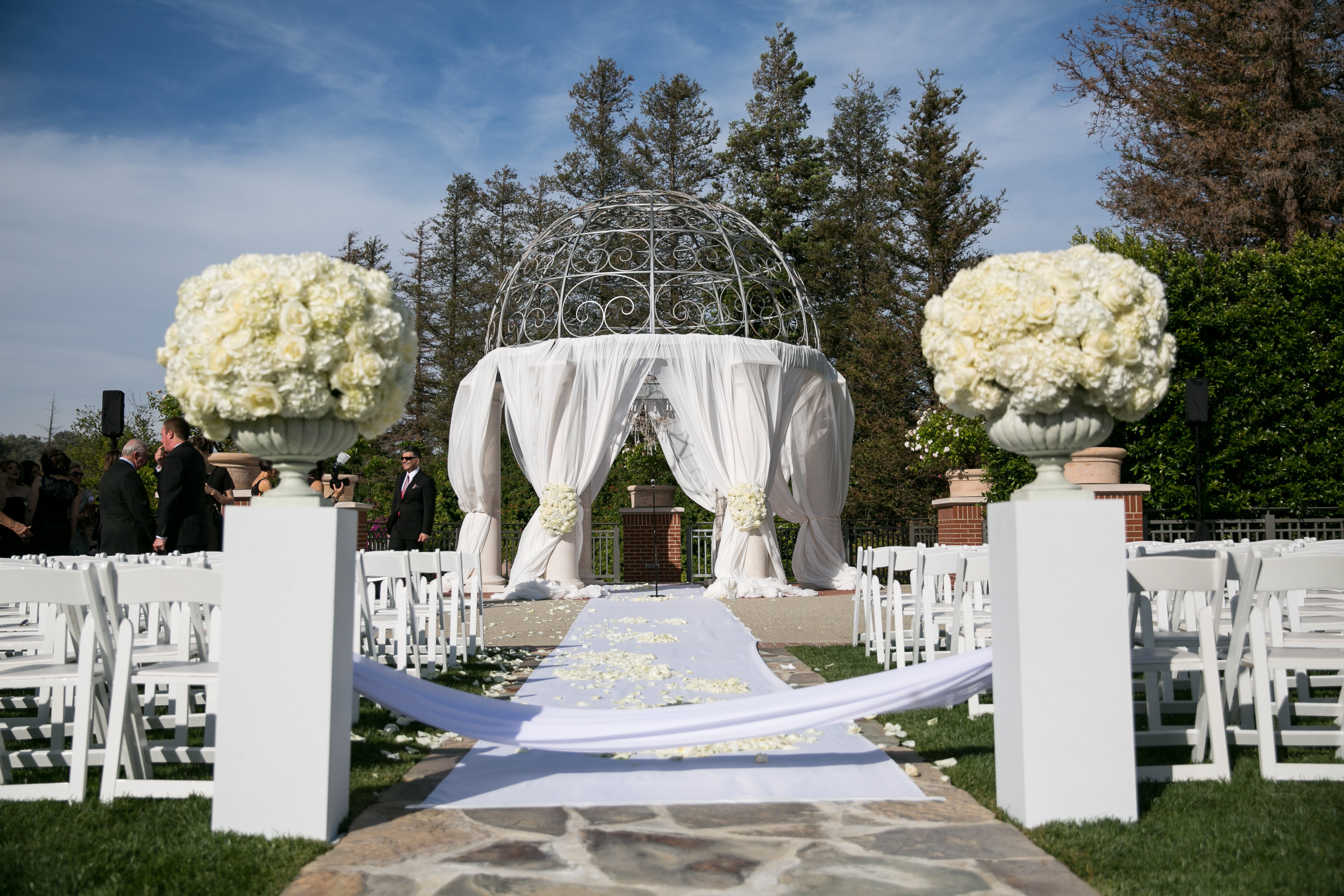 Four seasons westlake gazebo draping wedding ceremony