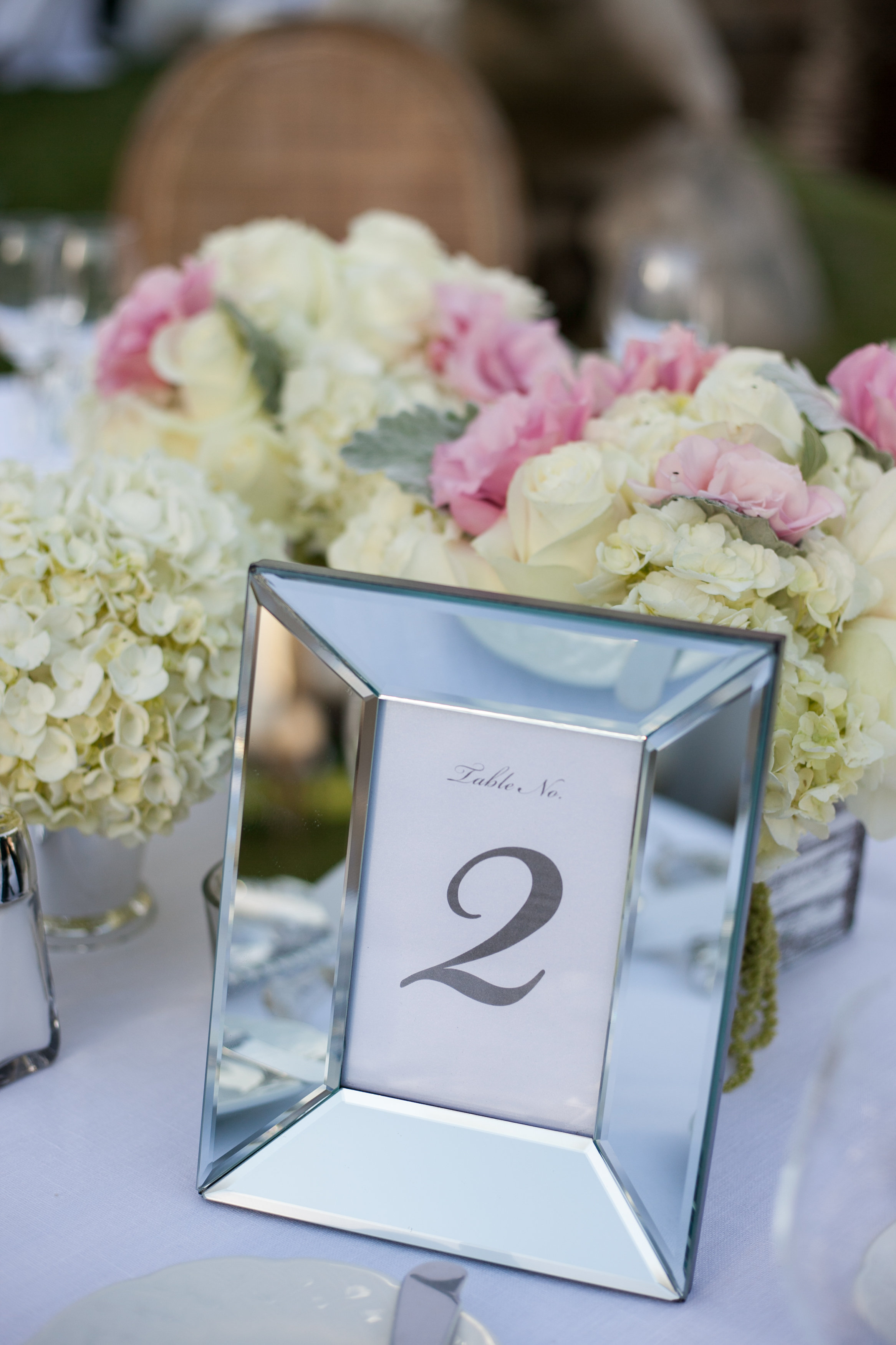 mirrored table number wedding