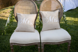mr mrs chairs pillow wedding sweetheart table
