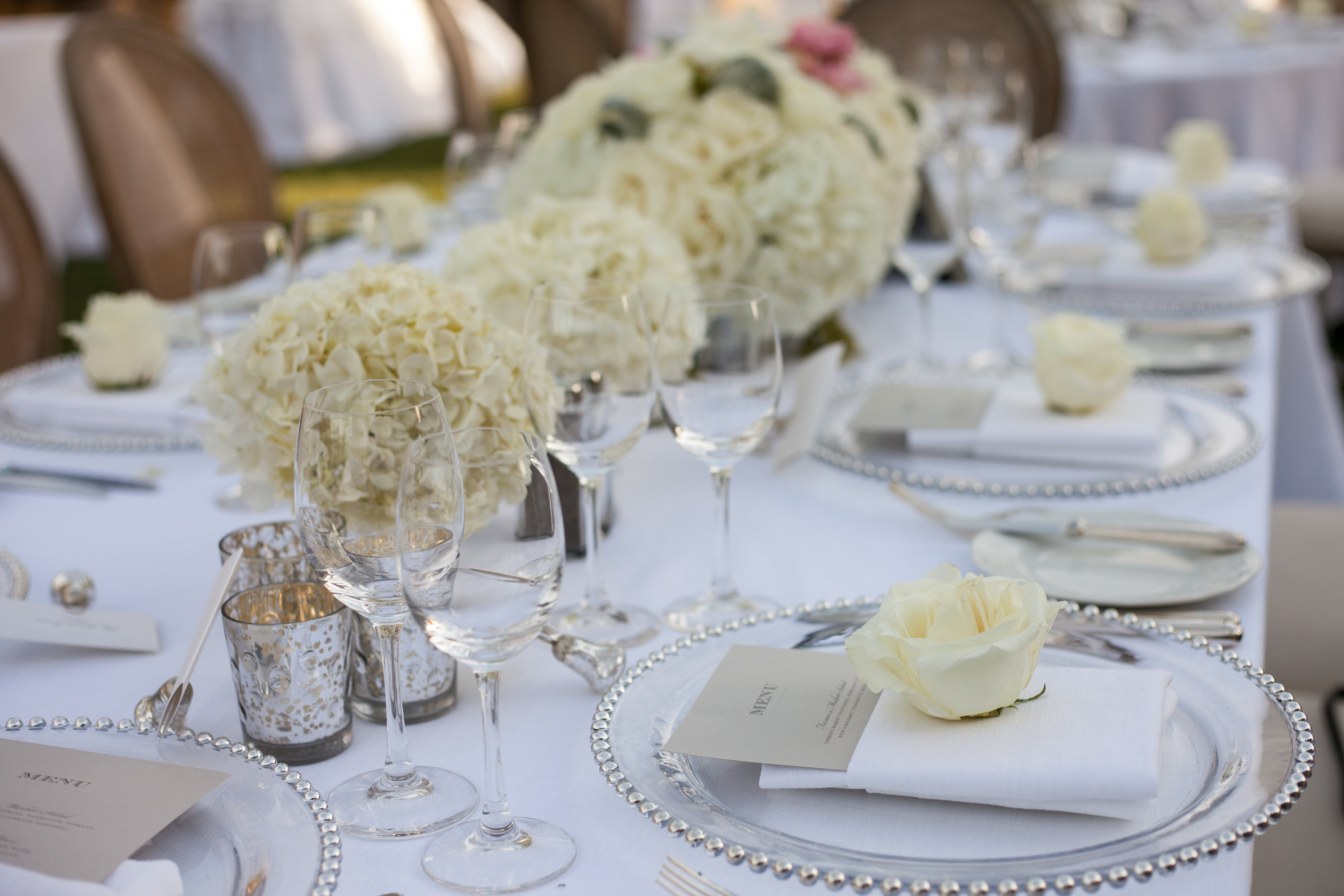white hydrangea rose modern rustic wedding