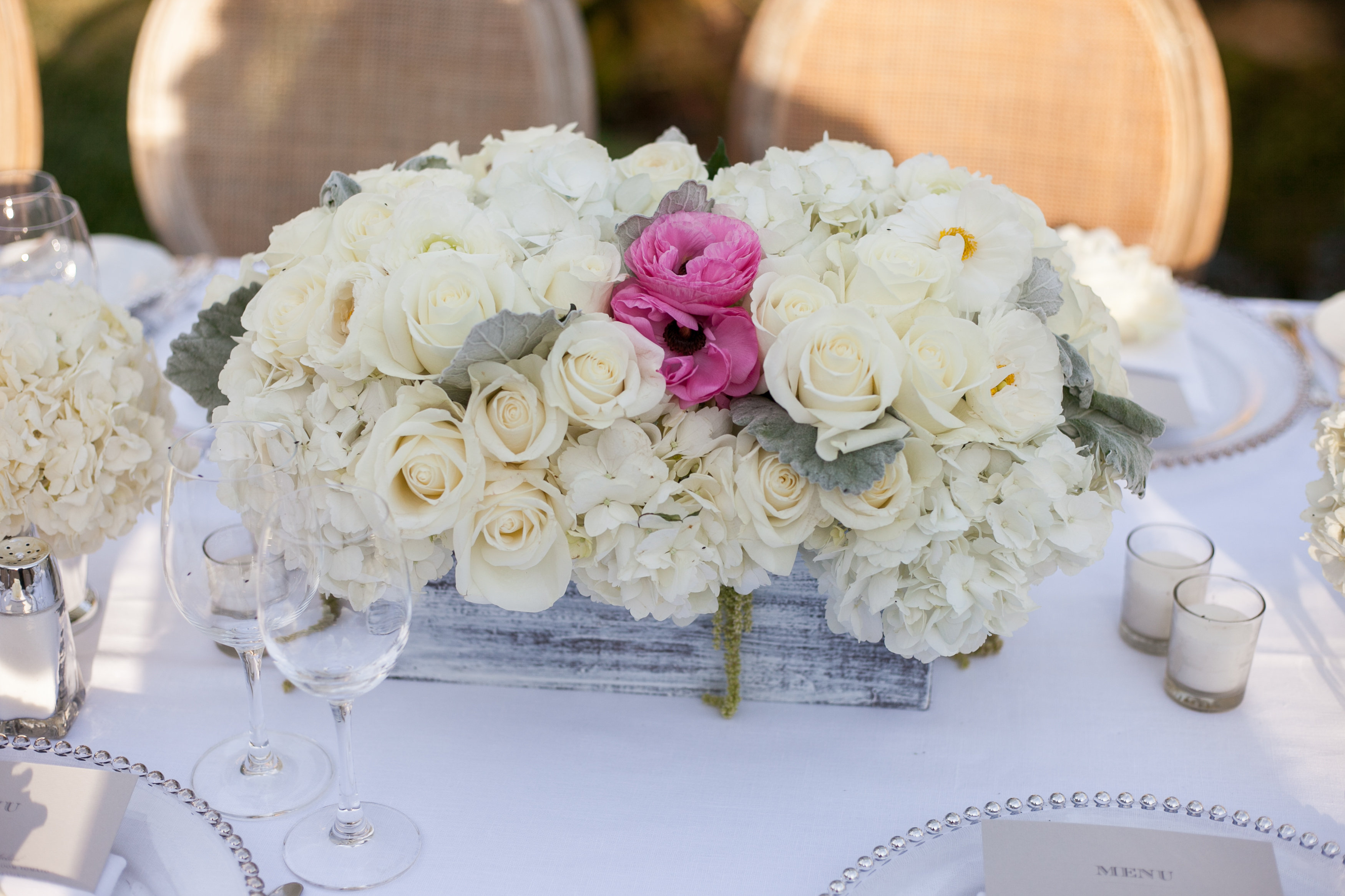 hot pink rose white hydrangea centerpiece wedding los angeles four seasons westlake