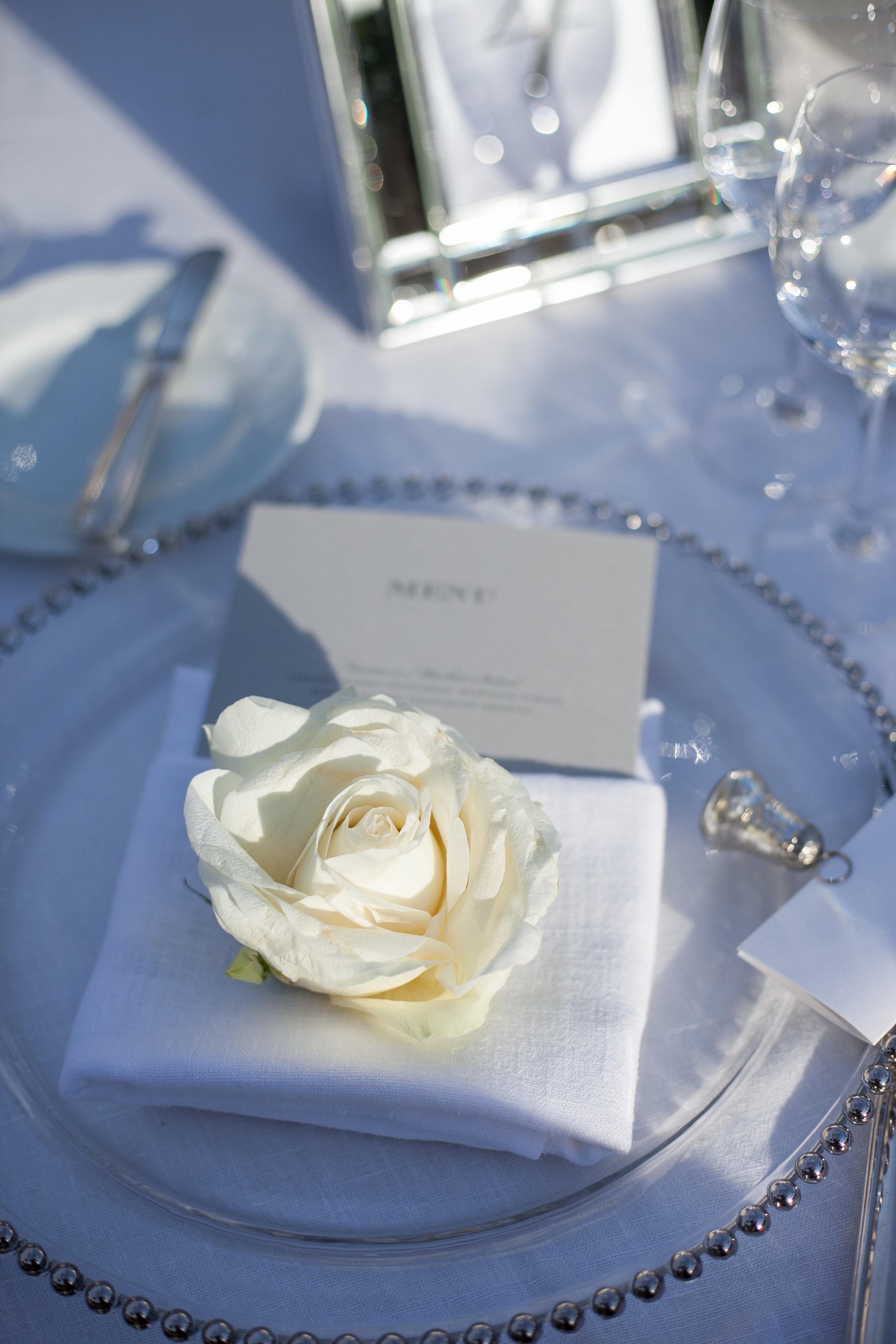 napkin tretment ivory rose gray menu