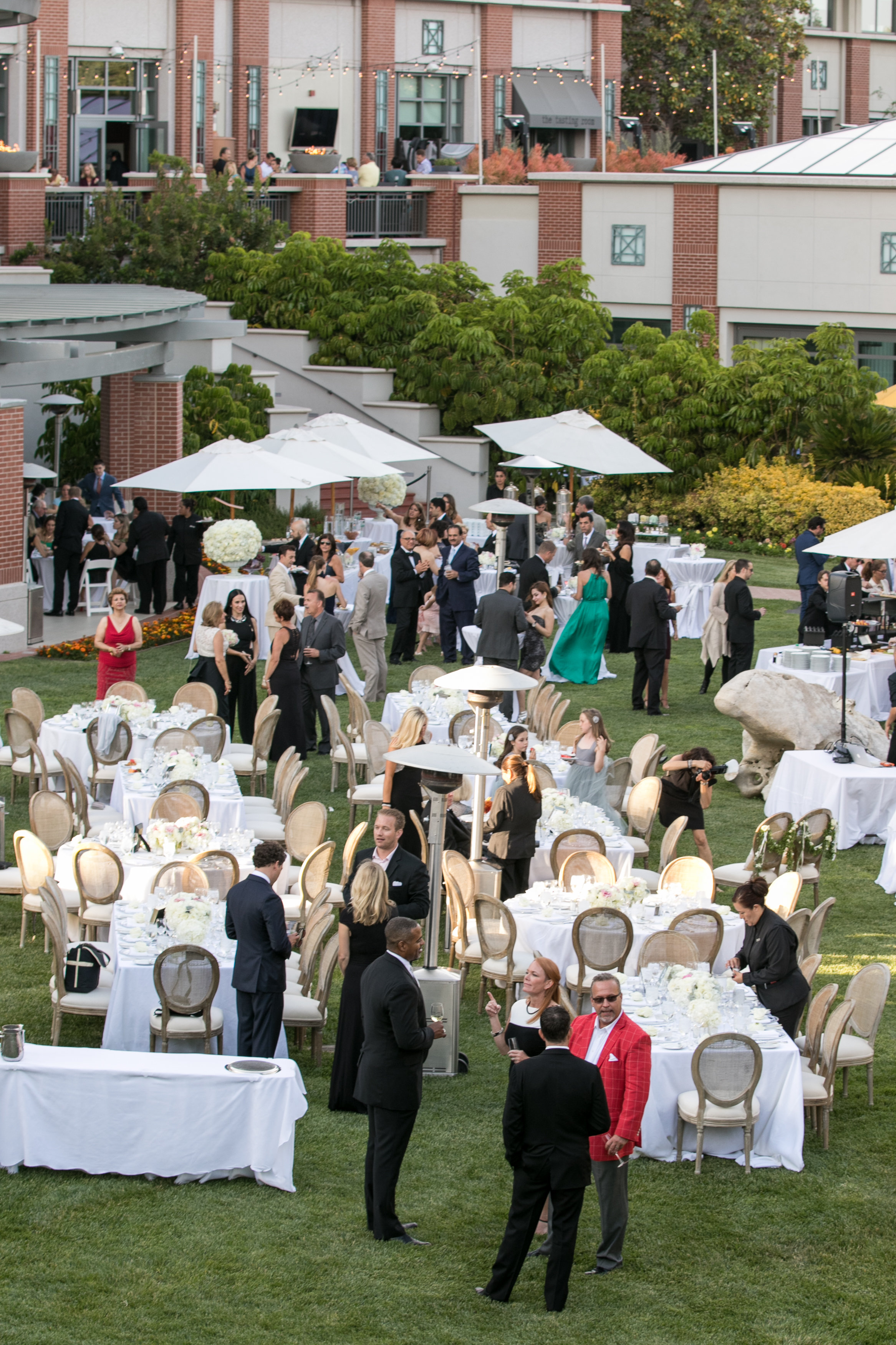 overhead shot lawn four seasons westlake village wedding