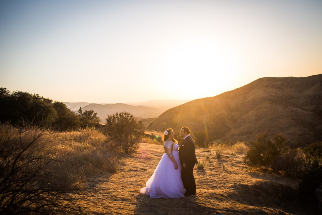 Sunset wedding couple photo at hummingbird nest ranch