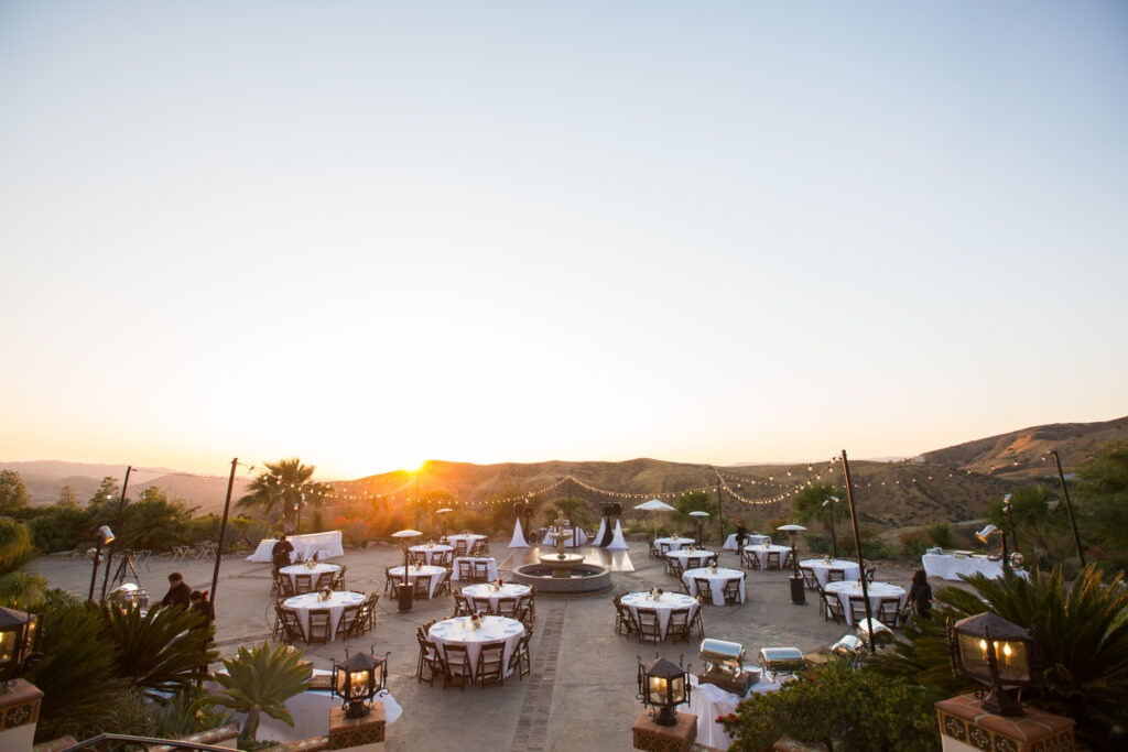 Sunset wedding reception at Villa at Hummigbird Nest Ranch for rose gold wedding