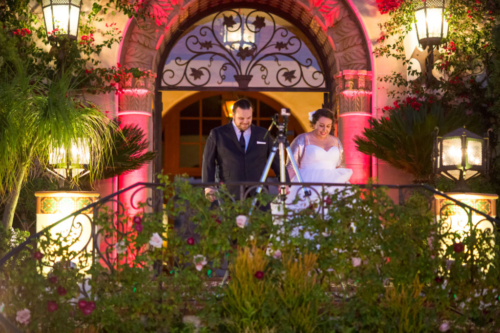 Grand Entrance at Villa Hummingbird Nest Ranch with pink uplighting