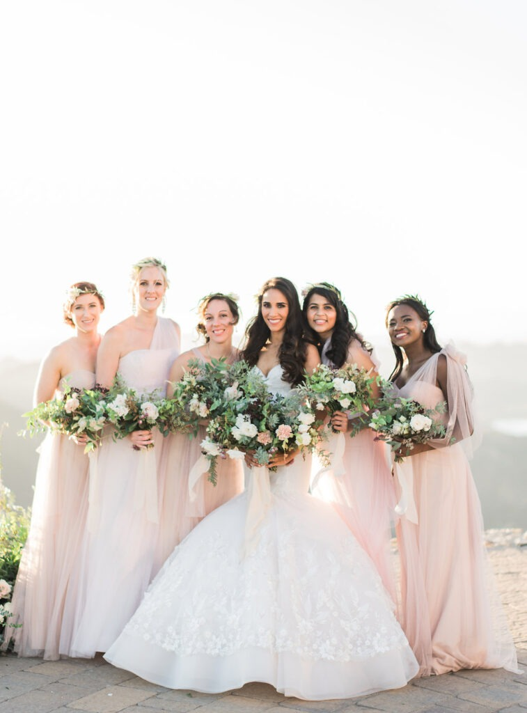 Bridesmaids in Blush and nude bridesmaid gowns