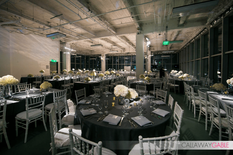 Gray, white, silver and glitter - all came together at the Penthouse space in the AT&T Center.  Photo by Callaway Gable.