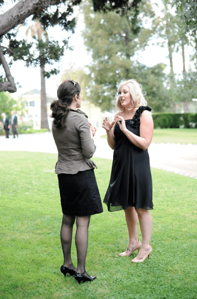 Having a chat with a Maid of Honor before the ceremony.  Photo by Wasserlein Photography.