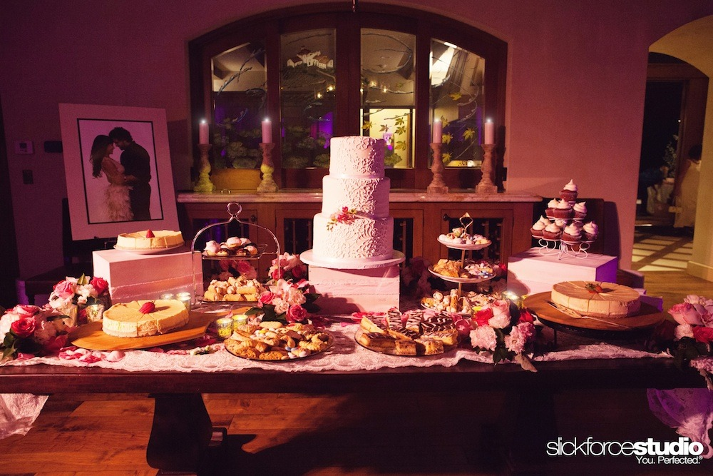 Dessert table:  Traditional Italian treats and a delish cake from Hot Cakes Bakes, with decor and florals from Lotus and Lily.