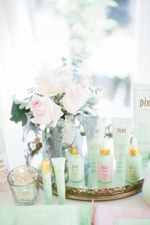 We styled the Pixi by Petra's Skintreats line with complementary florals and decor at a recent event. Photo by Brandon Aquino.