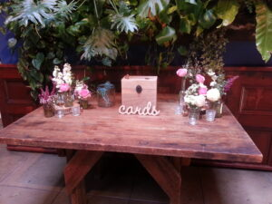 Gift table at a Marvimon wedding.