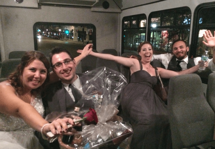 fun bridal party photos bus party bus event planners