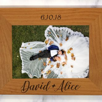Personalized wedding gift frame with bride and groom